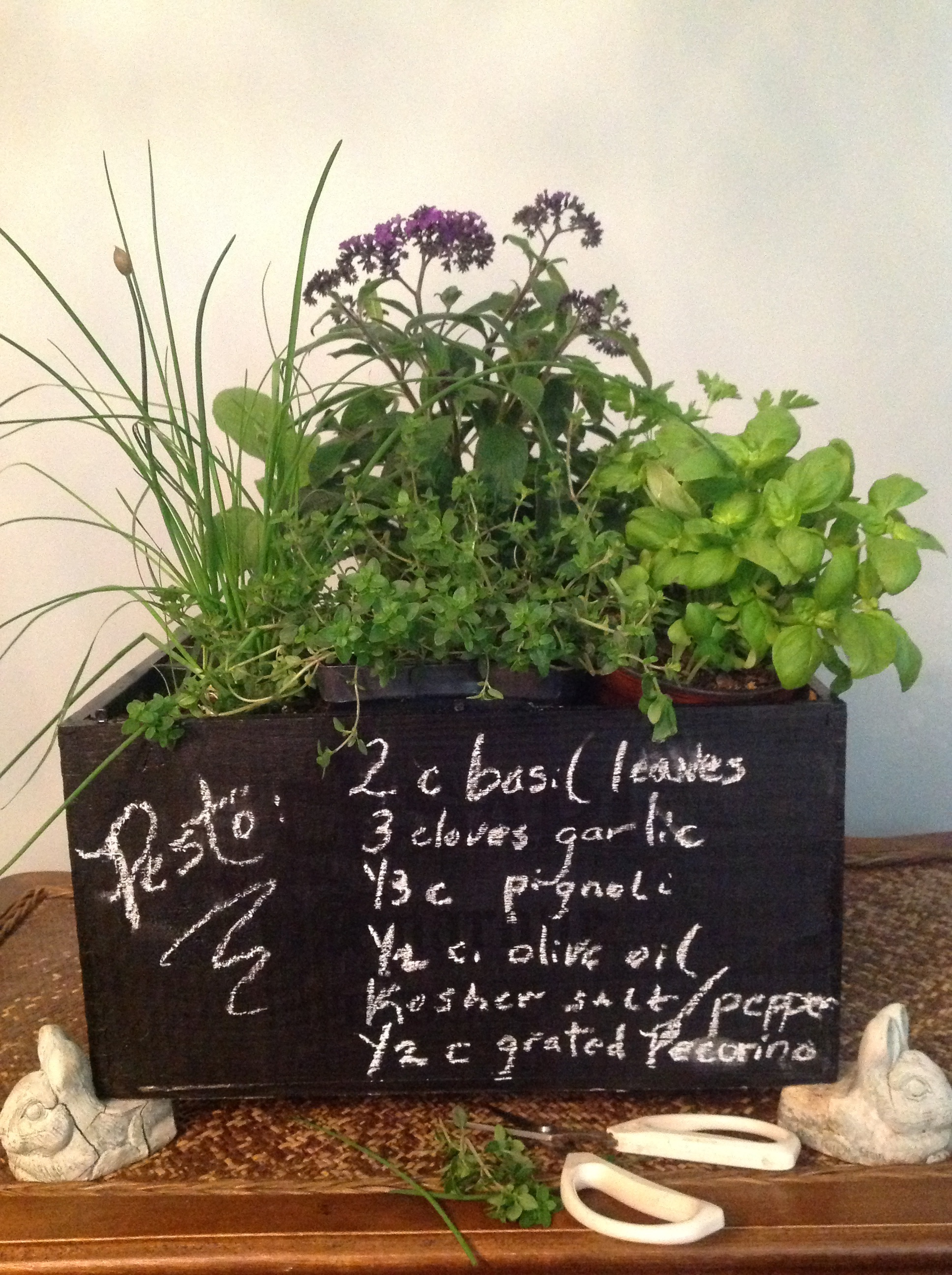 Indoor Kitchen Herb Garden in DIY Chalkboard Wine Crate | French