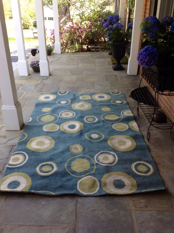 Delineating the space with an outdoor area rug