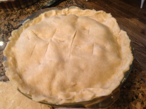 The meat pie ready to go into the oven