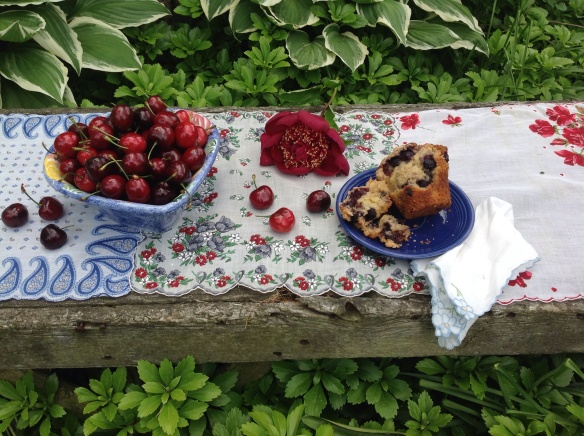 Enjoying a little breakfast in the garden under the cherry tree. For a bit of added nostalgia, te bench was handmade by Prince Charming's grandfather, husband of Nana, the handkerchief lady.