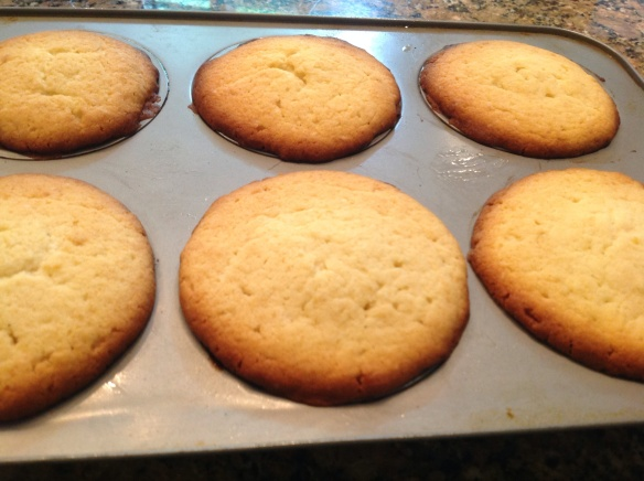 Bake at 350F for 35-40 minutes until golden and a toothpick comes clean when the cakes are tested. If baking in larger pan, cake will need 45-50 minutes to bake.