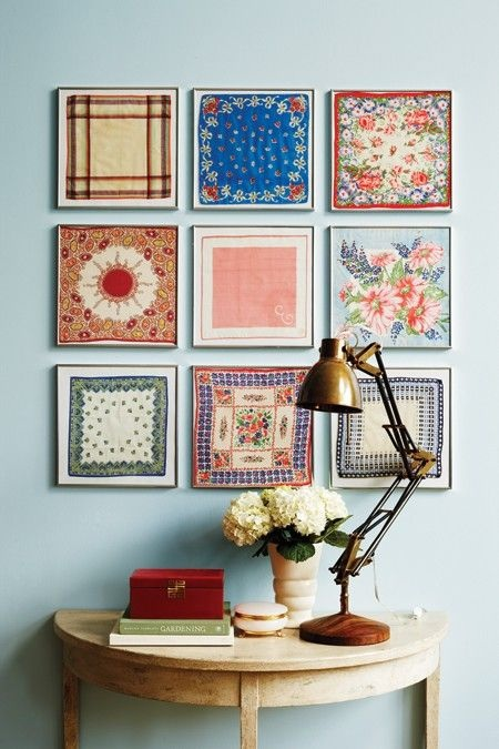 Love this coloful grouping of framed hankerchiefs from houseandhome.com