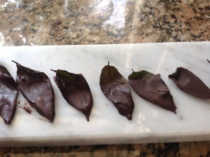 The texture and color of the mint does not hold up if not consumed right away. These are photographed a day later.
