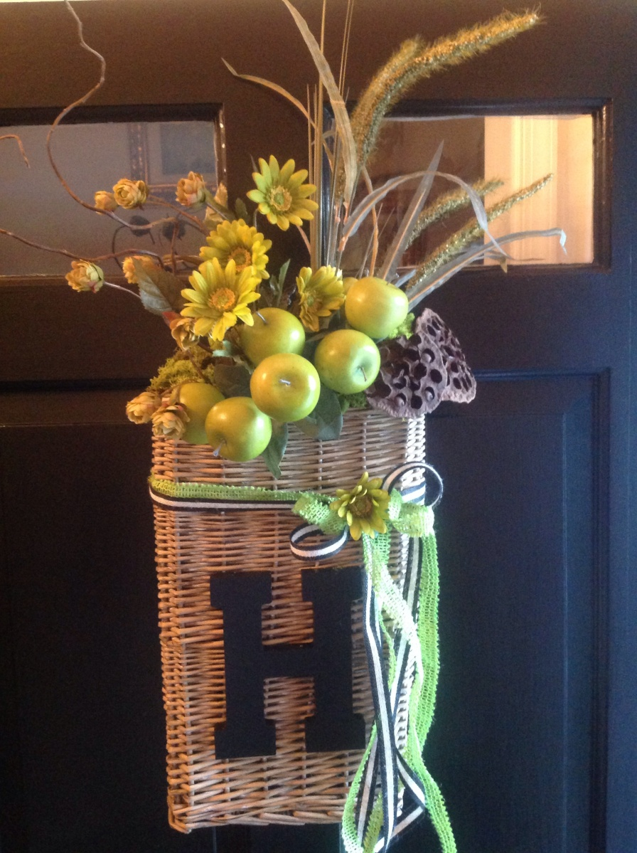 Monogrammed Fall Front Door Basket Wreath French