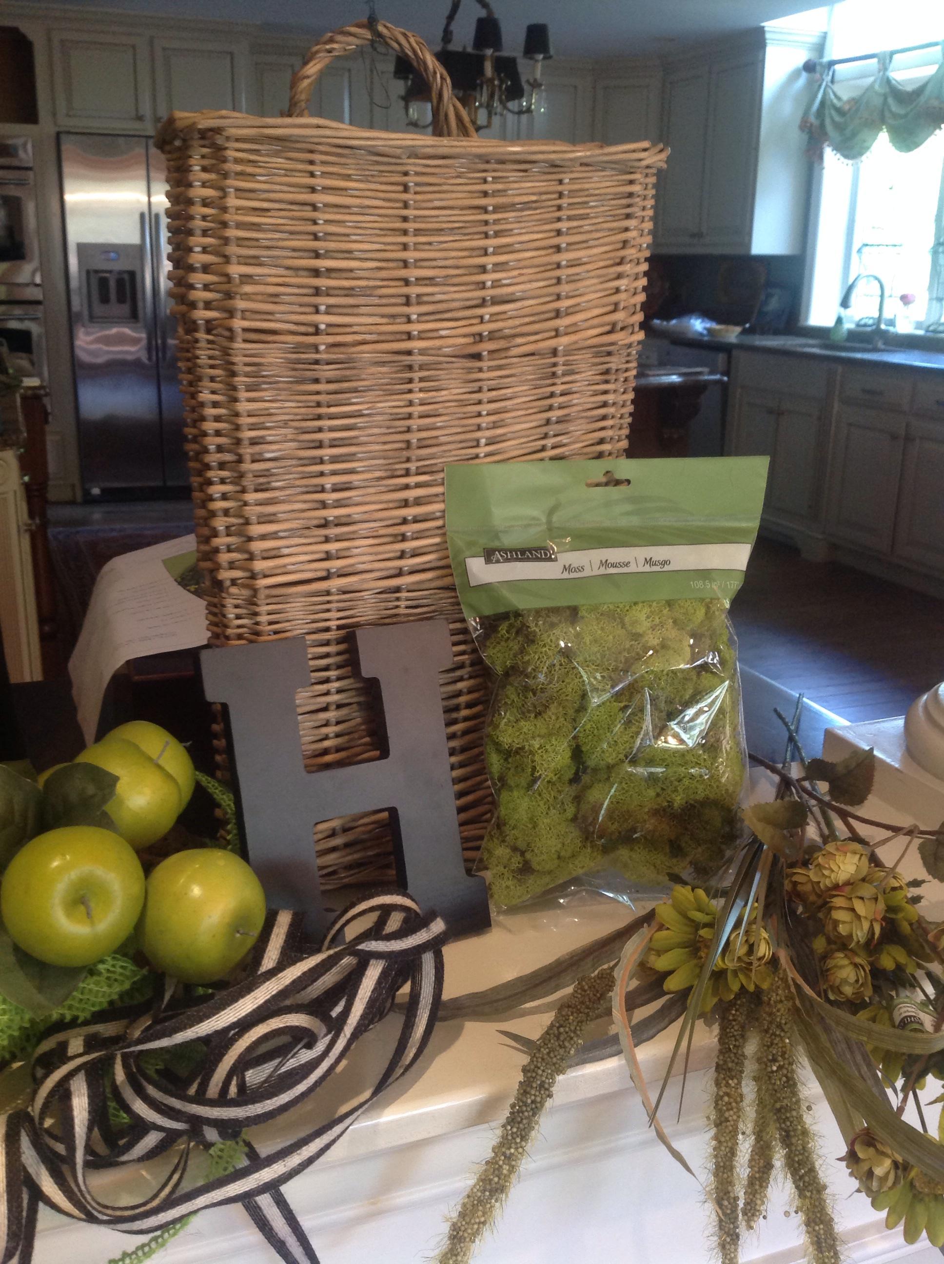 Monogrammed Fall Front Door Basket Wreath French Gardener Dishes