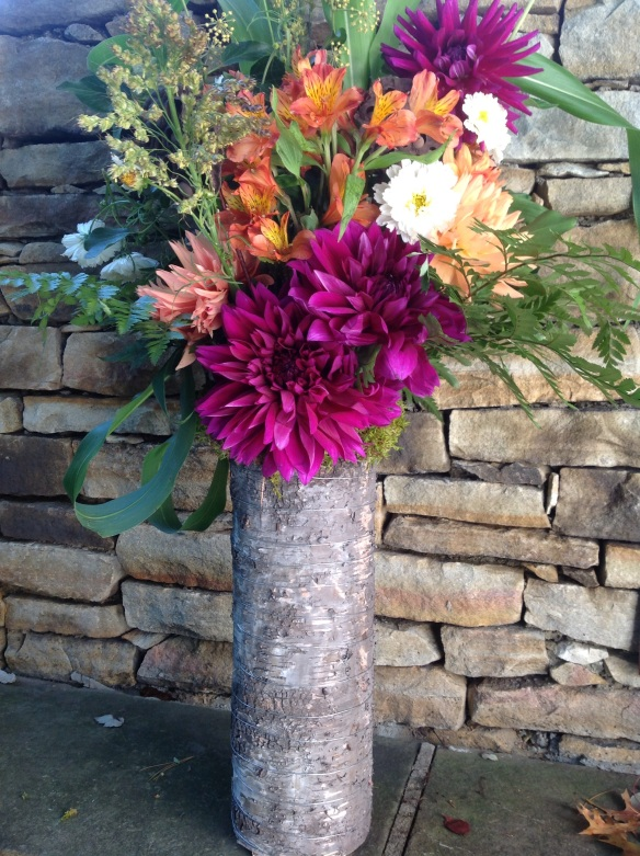 The same vase with a dahlia arrangement by Madeline at Farm and Garden Flowers at The Artisan Exchange Farmer's market in West Chester, PA