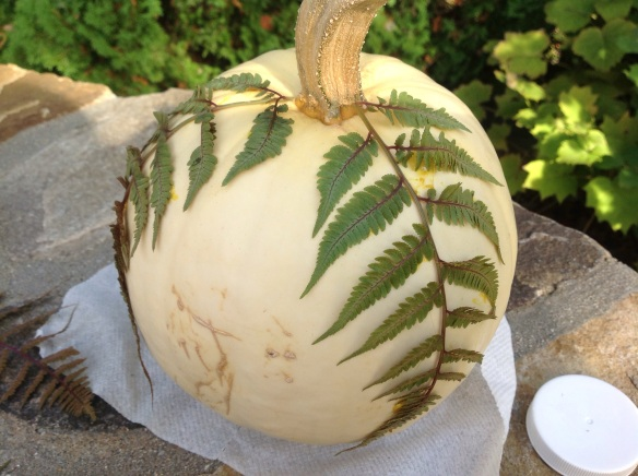 Securing my Japanese ferns with spray adhesive on the pumpkin