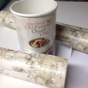 Using the box that the oats came in, I cut out a length of birch bark patterned gift wrap($2.99 at TJ Maxx) and covered the container.