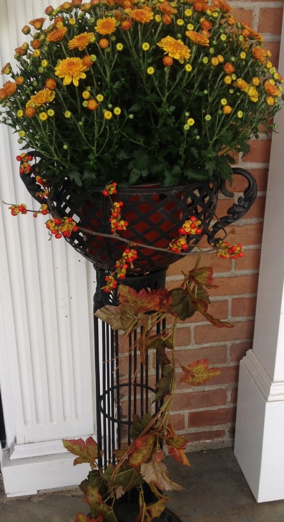 Detail of the mum filled planters flanking the front door.