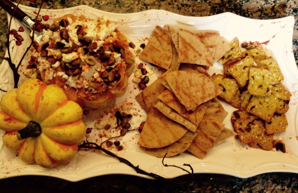 The final platter with warmed pita points and crackers added.