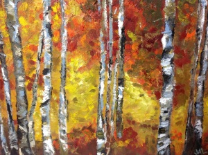Memories of Childhood Fall Birches painted for my brother, 2013