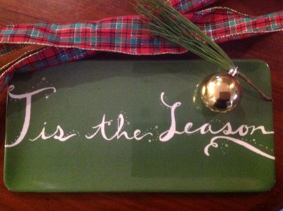 Melamine platter(Threshold at Target), ribbon, greens and an ornament