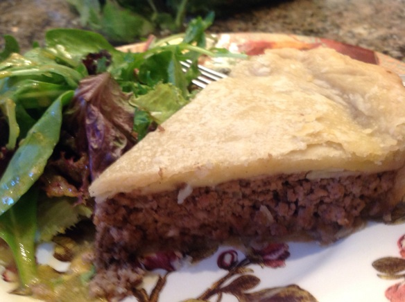 With a green salad on the side, a slice of tourtière is a satisfying meal.