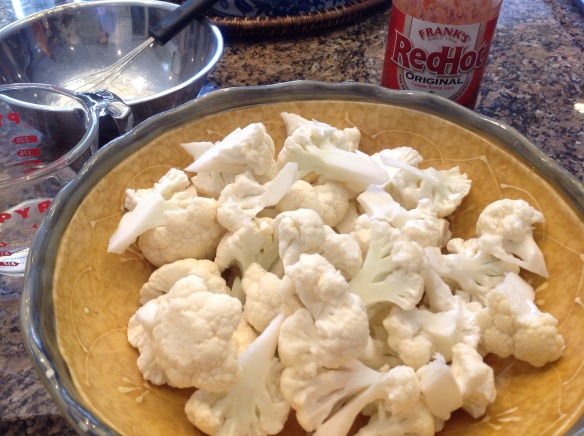 Bite sized cauliflower ready to coat with batter