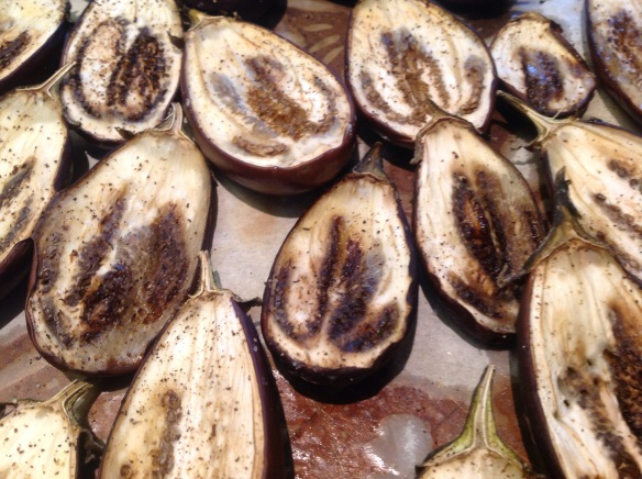 Roasted eggplant , flesh ready to be scooped out
