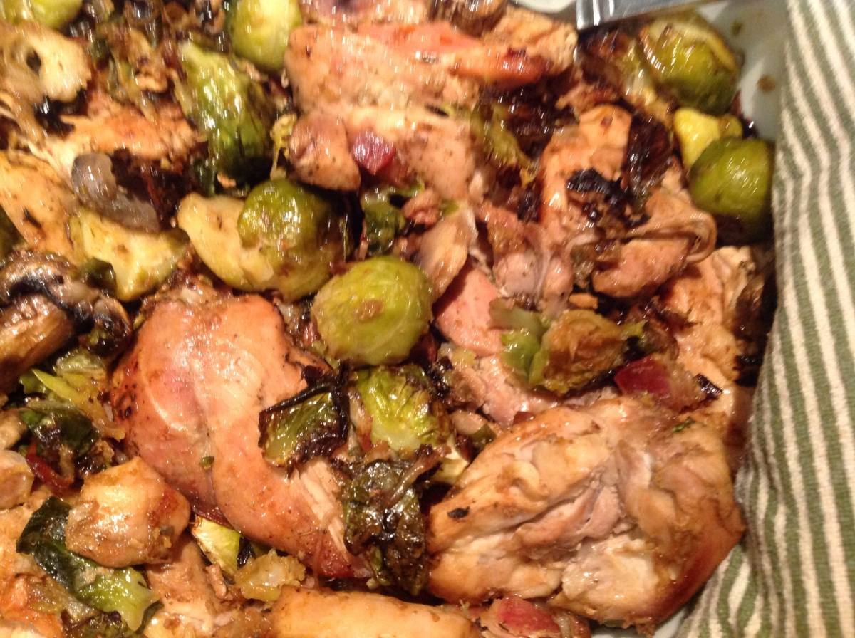 Oven Roasted Chicken Thighs With Brussel Sprouts, Leeks ...