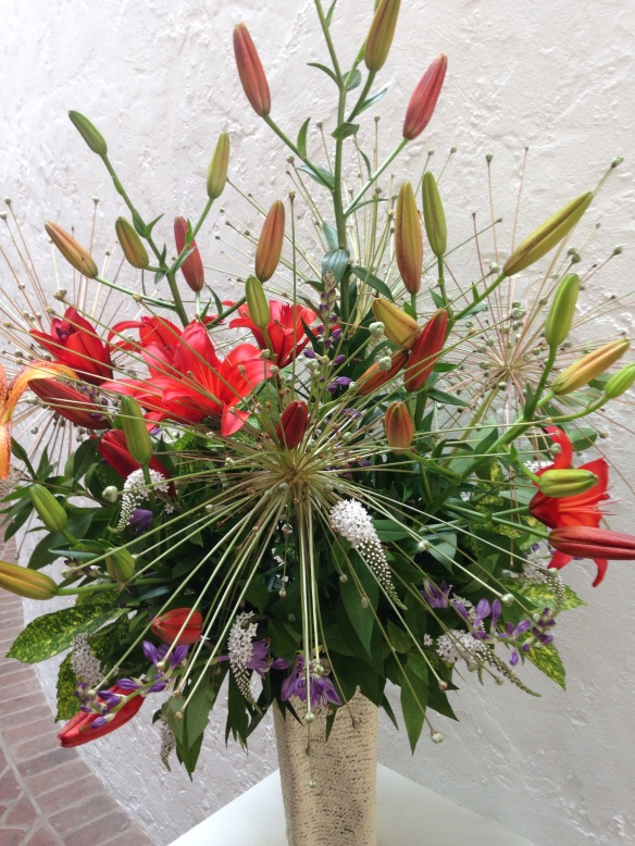 A spent allium adds 4th of July sparkle to an arrangment at The Brandywine Museum