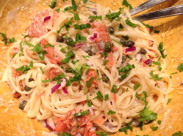 Not one to jst stop at gravlax on cream cheese and bagel, I made a salmon fettucine alfredo dish with some of the gravlax!