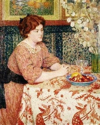 Woman with Cherries, Georges Lemmen, 1905, Antwerpen Roayl Museum of Fine Arts, Belgium