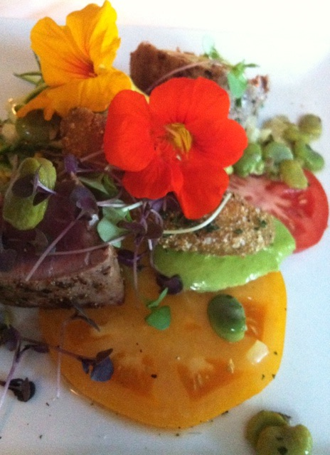 Edible nasturtium blossoms add visual appeal to grilled tuna at Primo Restaurant in Rockland, ME