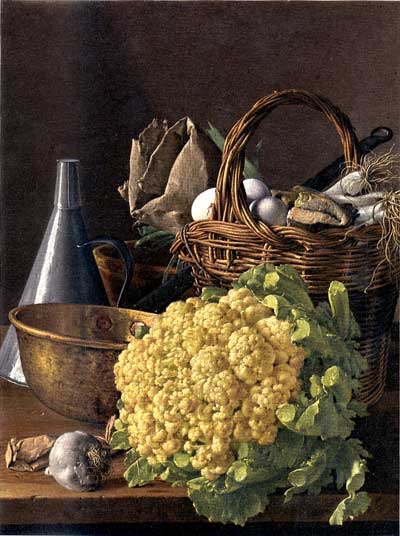 Luis Meléndez, 1715-1780, Spanish, Sill Life with Cauliflower. NYTimes called this painting the most beautiful head of cauliflower in the history of art.