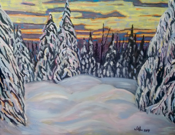 Winter Sunset Northern Ontario, painted for my brother Guy and his wife Nicole, 2014