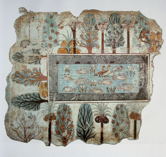 The Garden, fresco from Nebamun tomb, originally in Thebes, Egypt, now in the British Museum, London, U.K. Painting on plaster, 1380 BC