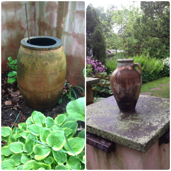 Even though these are antique olive oil containers, the bottom has been drilled to provide drainage of rainwater. The larger one on the left is sitting on bricks to keep the drainage hole open. This prevents them also from freezing and cracking during winter months.