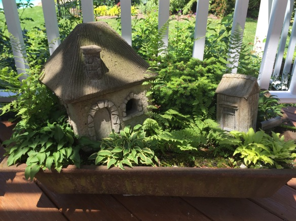 How adorable is this concrete house complete with its outhouse in this planter filled with perennial dwarf hostas?