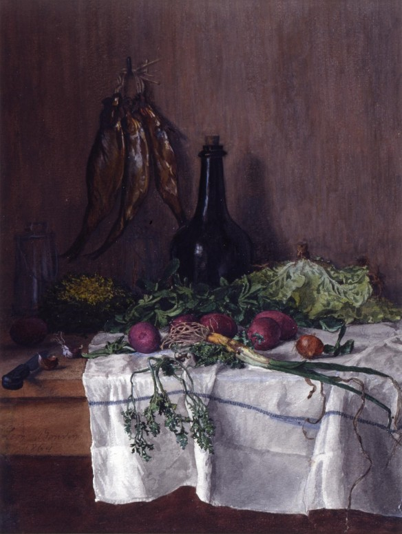 Still Life Vegetables, Fish and Radishes, Léon Bonvin, French, 1864, Walters Art Museum