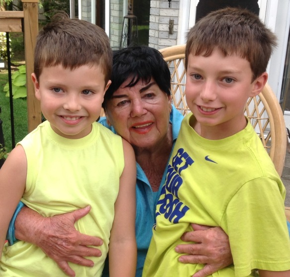 My mom Pierrette,with her great grandsons Deacon and Wilson, a fourth generation of tarte au sucre fans.