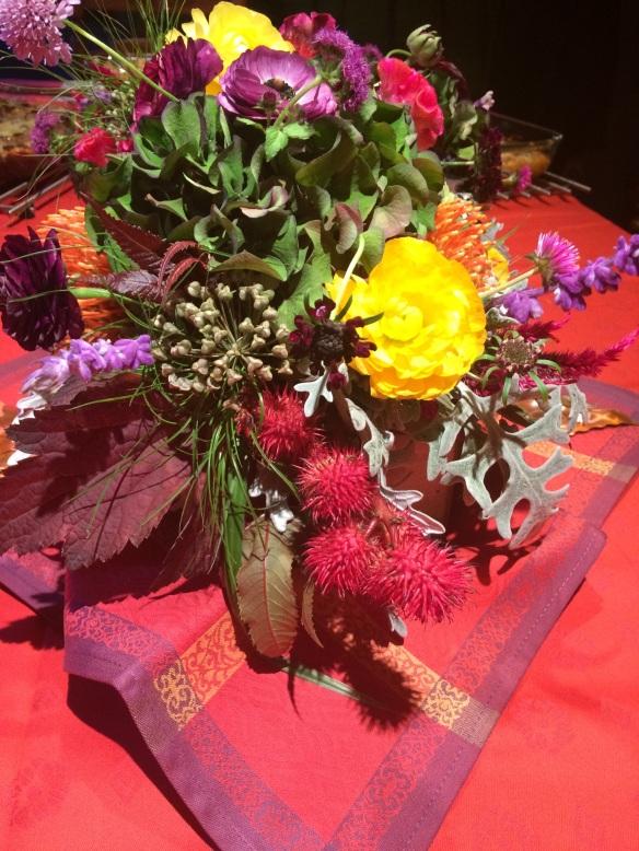 Castor bean pods in a floral arrangement by Chrissy Piombino Bennett