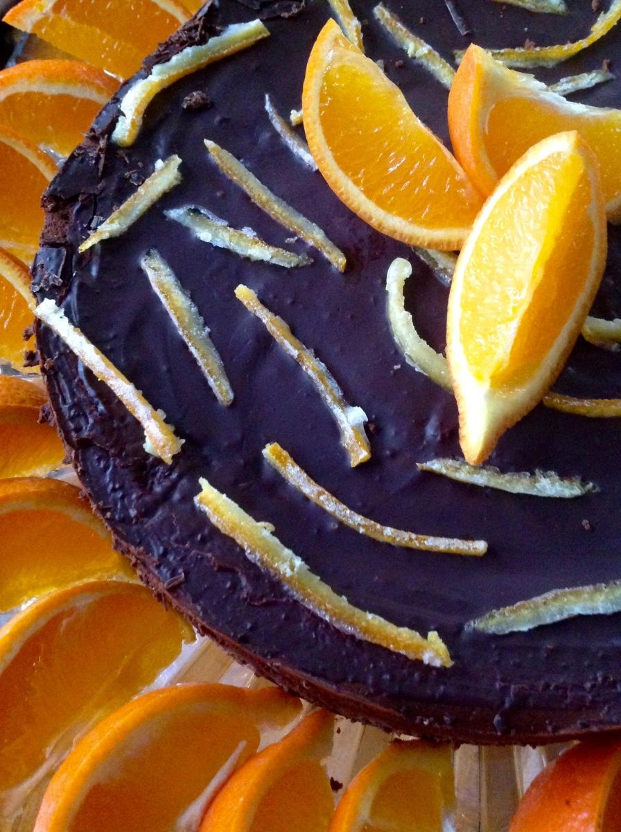 Dark Chocolate Flourless Torte With Blood Orange Ganache