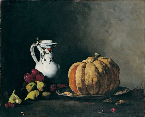 Augustin Théodule Ribot, Still Life with Pumpkin, Plums, Cherries, Fig and Jug, oil on canvas, 1860, Bilboa Fine Arts Museum